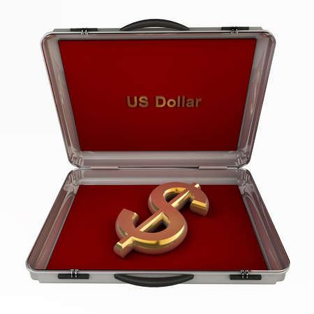 business case: Silver case with dollars symbol on a white background 3d