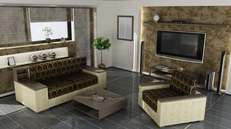 interior moderno Home 3D renderizado. alta resoluci�n photo