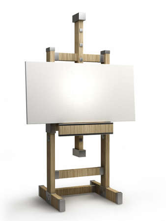wooden easel with blank canvas isolated on white 3d render  photo