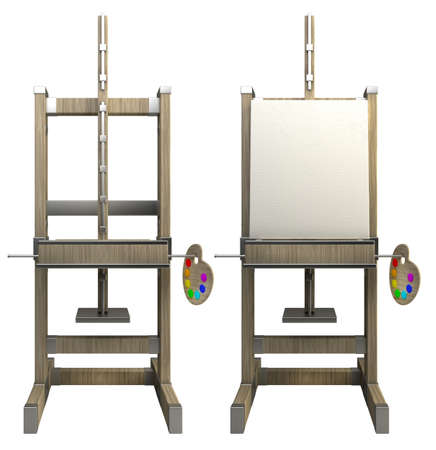 wooden easel with blank canvas isolated on white 3d render Stock Photo
