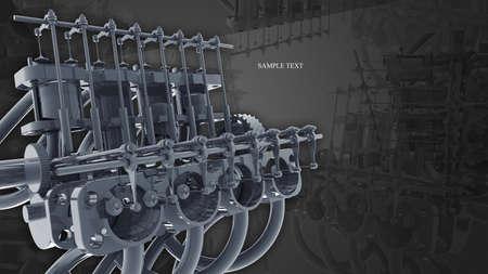 motor car: Engine 3d Technology Background. gray