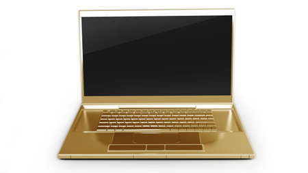 gold laptop isolated on white background 3d  photo
