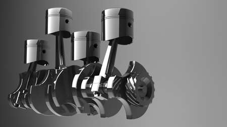 piston: Engine pistons and cog. 3D image.