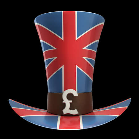 declaration: TOP hat of UK isolated on black background High resolution 3D Stock Photo