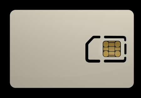 sim card: Blank sim card isolated on black background High resolution 3D