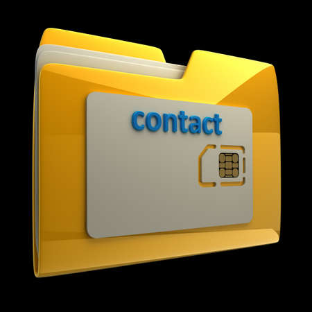 3D Yellow folder sim card isolated on black background High resolution Stock Photo - 14431421