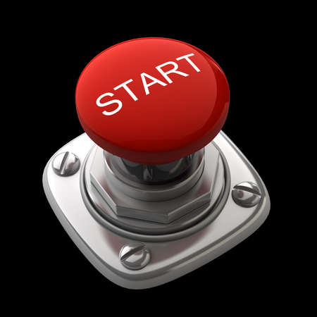 panic button: Red START button Isolated High resolution. 3D image