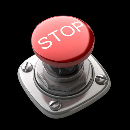 Red STOP button Isolated High resolution. 3D image photo