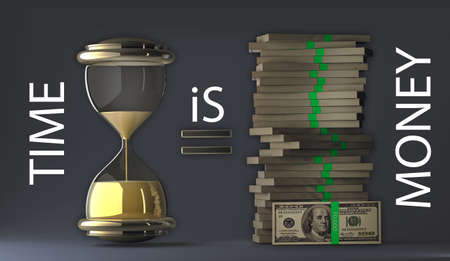 money packs: time is money packs of dollars over dark sacking 3d render. with clipping path