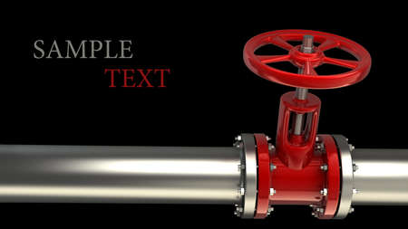 plomeria: tubo de gas con una válvula de rojo sobre fondo negro de alta resolución en 3D