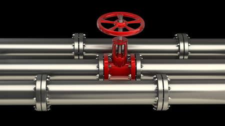 Tuyau de gaz avec une soupape de rouge sur fond noir haute résolution 3D Banque d'images - 14431554