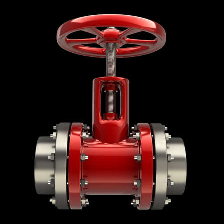stop gate valve: gas pipe with a red valve on black background High resolution 3D