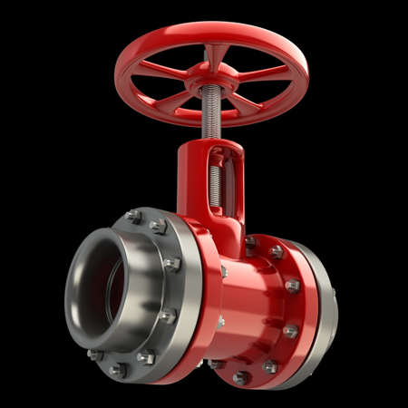 industrial objects equipment: gas pipe with a red valve on black background High resolution 3D