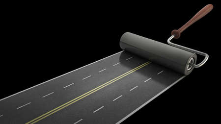 painted road isolated on black background High resolution 3D Stock Photo - 14431709