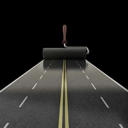 painted road isolated on black background High resolution 3D photo