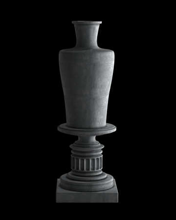 Decorative Stone vase on a podium isolated on black background. High resolution 3D image photo