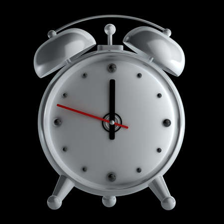 alarm clock isolated on black background High reolution 3d Stock Photo - 14431418