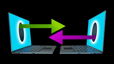 ecomerce: arrows comes right out of the laptops screen CONCEPT. isolated on black background High resolution 3d  Stock Photo