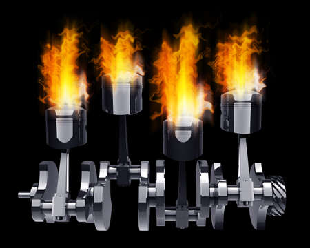 Engine pistons and cog in Fire high resolution 3d illustration  illustration