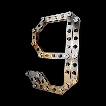 fonts 3d: grunge metallic figure with rivets and screws isolated on black background 3d render high resolution