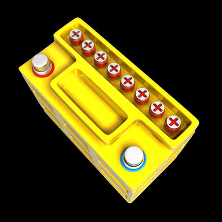 12v: Battery car isolated on black background High resolution. 3D image  Stock Photo