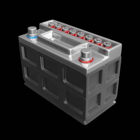 12v: bater�a de coche aislado en un fondo negro de alta resoluci�n 3D render