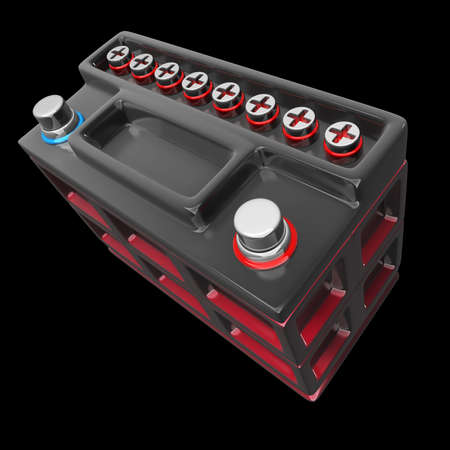 12v: car battery isolated on a black background High resolution 3D render