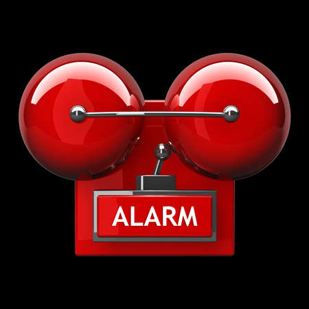 alarm bell isolated on black background. High resolution 3d render  photo