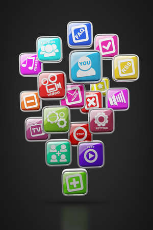 APPS icons isolated on black background High resolution 3d render  Stock Photo - 18720179