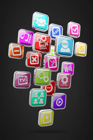 APPS icons isolated on black background High resolution 3d render  Stock Photo - 18720185