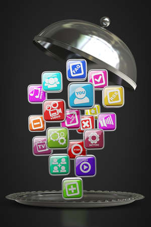 silver platter or cloche with APPS icons isolated on black background High resolution 3d render photo