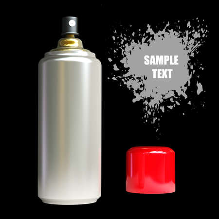 Spray can and Paint splat isolated on black background. High resolution 3D render  photo