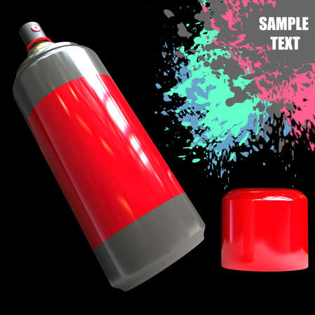 aerosol can: Spray can and Paint splat isolated on black background. High resolution 3D render