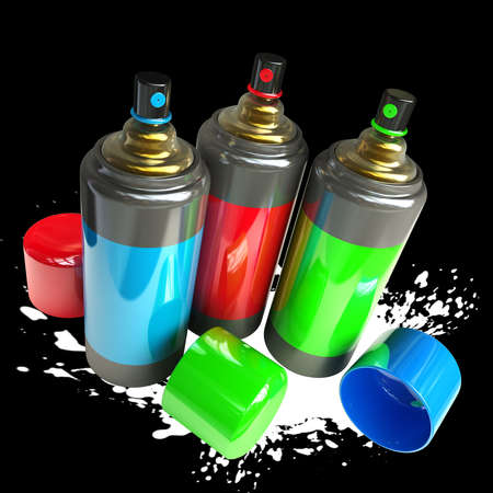 color spray cans isolated on black background High resolution 3d render  photo