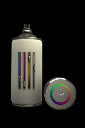 concept CMYK spray can isolated on black background 3d High resolution photo
