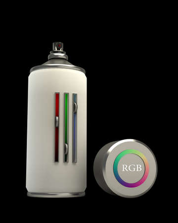 concept RGB spray can isolated on black background 3d High resolution.  photo