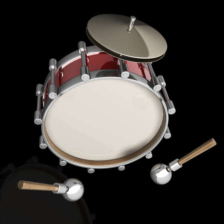 snare: Bass drum instrument isolated on black background. High resolution 3d render