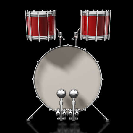 Bass drum instrument isolated over black background. High resolution 3d render photo