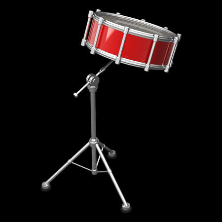 percussion: Bass drum instrument isolated over black background. High resolution 3d render