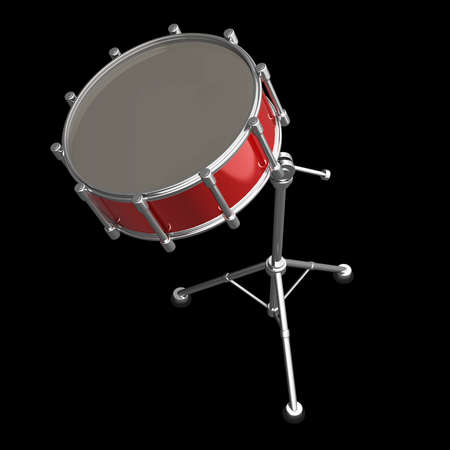 snare: Bass drum instrument isolated over black background. High resolution 3d render