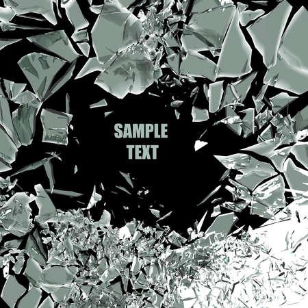 vidrio roto: fondo de cristal roto aislados en negro. Alta resolución procesamiento 3D