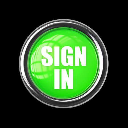 SIGN IN green button isolated on black background. High resolution 3d render  photo