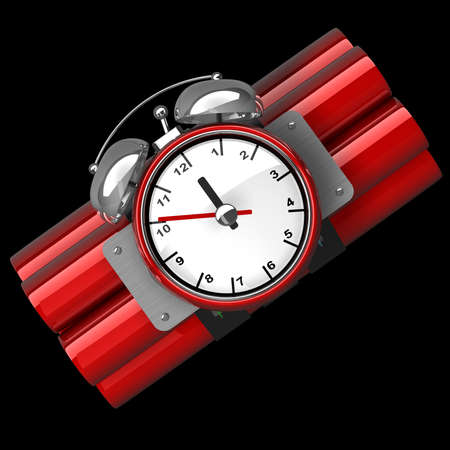 Bomb with clock timer isolated on black background High resolution. 3D image  Фото со стока