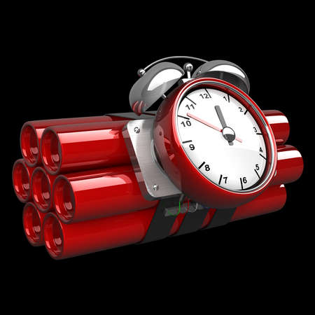 threat of violence: Bomb with clock timer isolated on black background High resolution. 3D image  Stock Photo