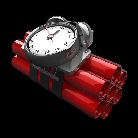 Bomb with clock timer isolated on black background High resolution. 3D image Stock Photo - 18719793