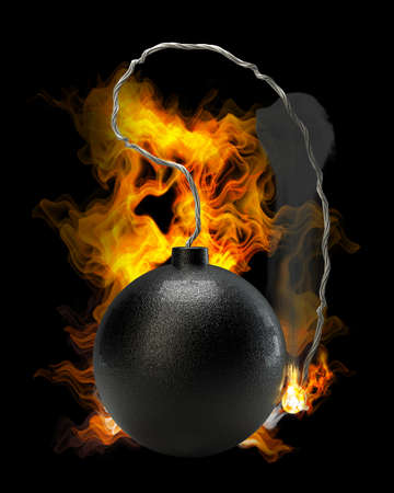 cannonball: Cannonball bomb in Fire high resolution 3d illustration  Stock Photo