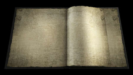 Old opened book with empty pages. isolated on black 3d High resolution  Stock Photo - 18720762