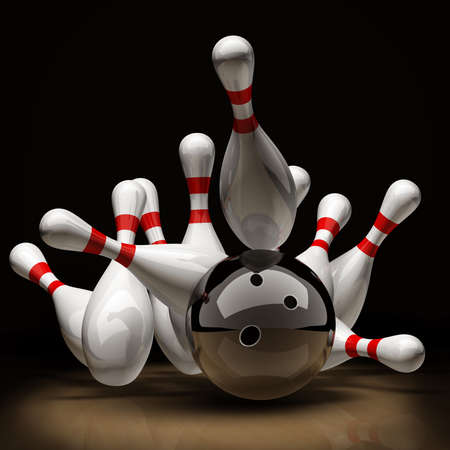 3d Bowling Ball crashing into the pins isolated on black background. High resolution