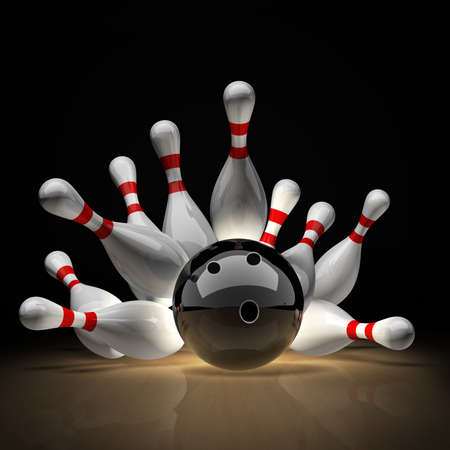 strike: 3d Bowling Ball crashing into the pins isolated on black background. High resolution