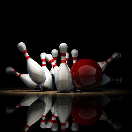 Boule de bowling 3d s'écraser sur les broches isolés sur fond noir. Haute résolution Banque d'images - 18719783